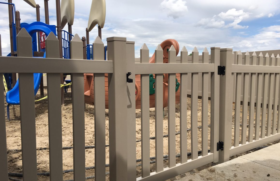 Vinyl colorado springs fence co vinyl fences are available in a variety of privacy picket and post and rail styles and are commonly white or tan but also available in a variety of other baanklon Choice Image